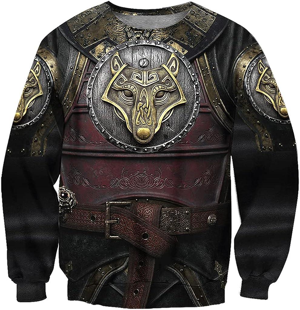 Viking 3D Print Wolf Tattoo Armor Hoody Hoodie, Norse Mythology Fenrir Long Sleeve Pullover Sweatshirt