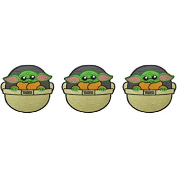 Baby Yoda in Ship Embroidered Iron on Patch Set of 3