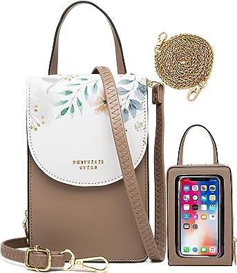 HAWILL Handy Umhängetasche Damen Touchscreen Handytasche zum Uumhängen Kleine Schultertasche Leder Crossbody Geldbörse Phone Tasche für iPhone 12/12 Pro Max/11/Xs Max/XR, Samsung Galaxy S21/S20/S10