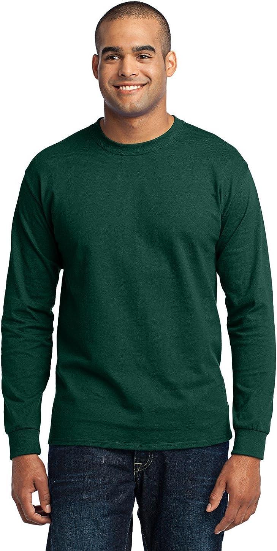 Port & Company Men's Tall Long Sleeve 50/50 Cotton/Poly T Shirt 2XLT Dark Green