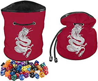 Rogues & Knaves DND Dice Bag with Platinum Dragon. Large Dice Bags Ideal for RPGs (Red).