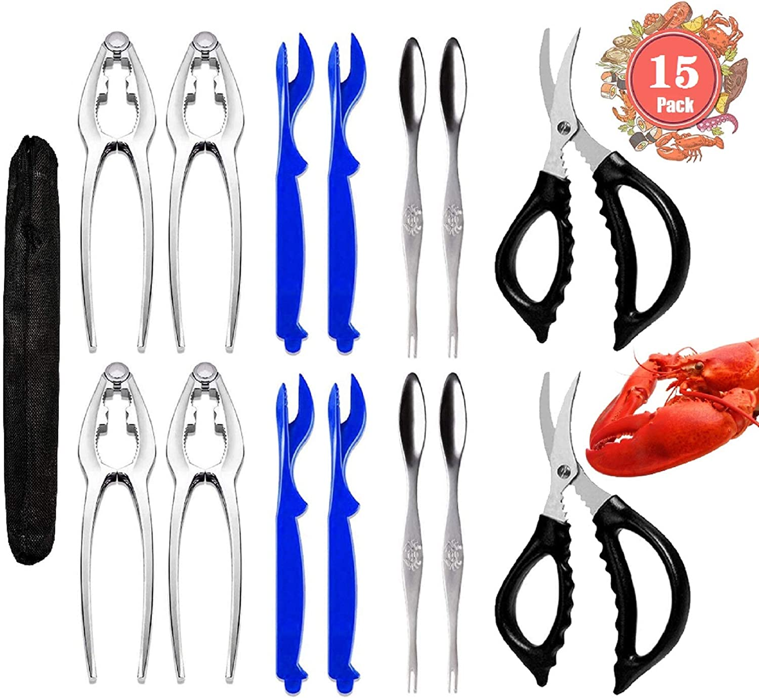 15 Pcs Seafood San Diego Mall Tools Set New product type - 4 Crackers Crab Lobster Shellers