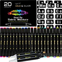 Large Set Dual Tip Fabric Markers with Gold and Silver 20 Colors Fine and Chisel Tip Permanent Ink Art Marker for Fabric Painting Writing on Cloth Laundry Clothes Canvas Bags Paint T-Shirts Shoes