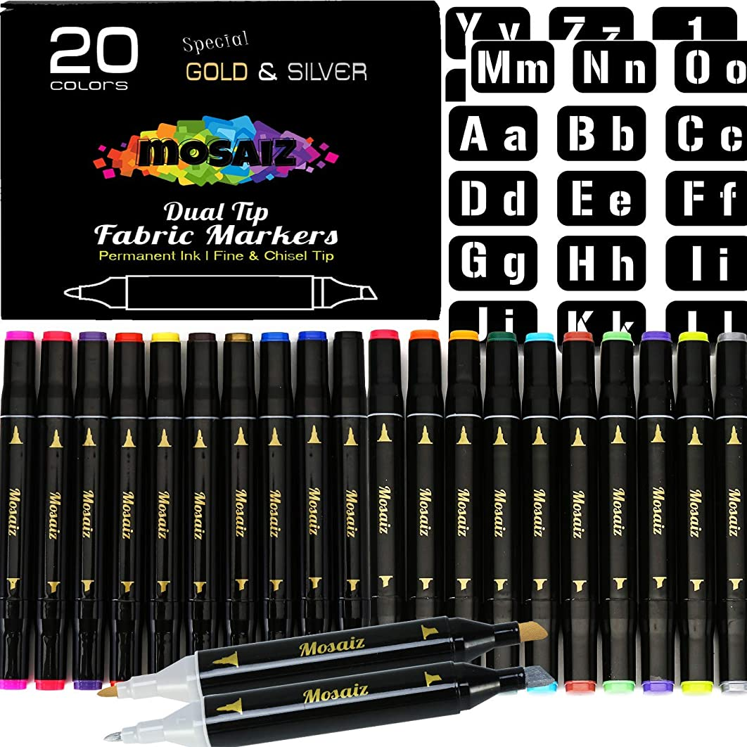 Large Set Dual Tip Fabric Markers (with Gold and Silver) 20 Colors Fine and Chisel Tip Permanent Ink Art Marker for Fabric Painting Writing on Cloth Laundry Clothes Canvas Bags Paint T-Shirts Shoes