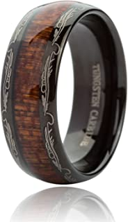 Just Lsy 8MM Tungsten Carbide Rings for Men & Women Koa Wood Inlay Dome Edge Wedding Band Comfort Fit