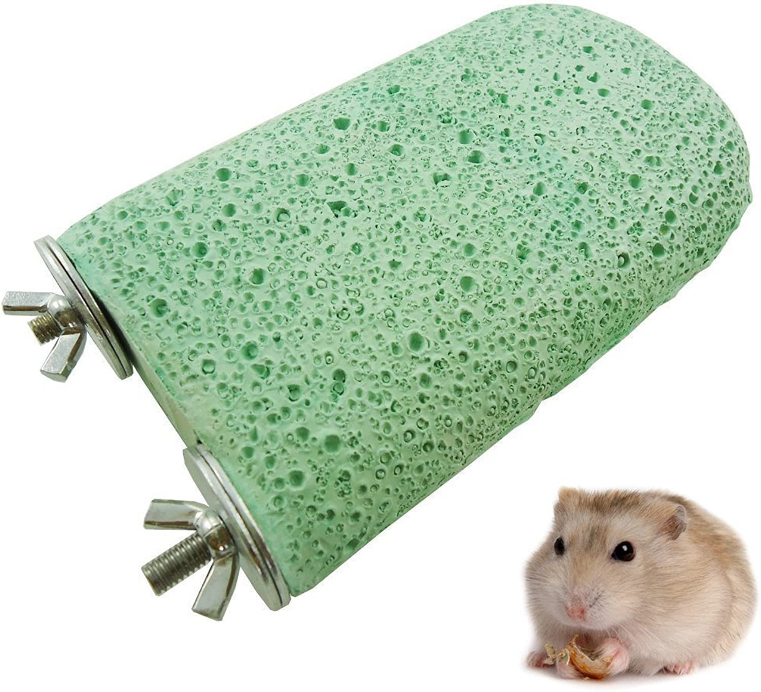 7inch Teeth Grinding Chew Toy, Small Animals Mouse Rabbit Square Hamster Bird Chew Toys Grinding Molar Stones Large Lava Ledge (Green)