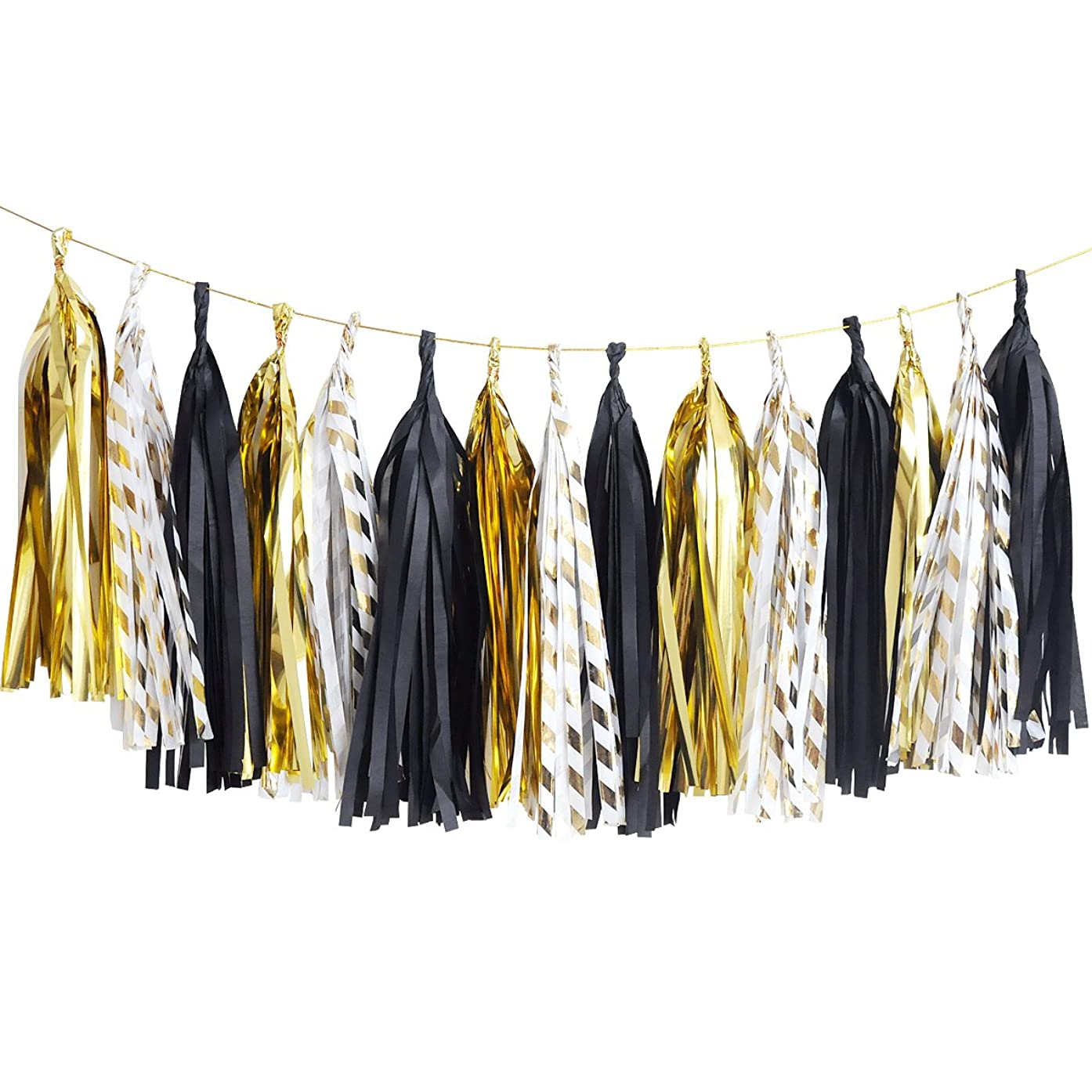 NICROLANDEE Black and Gold Tissue Paper Tassel Gold Foil Stripe Garland Tassel for Anniversary Party Decoration Graduation Wedding Bridal Shower Birthday Party Decor 15 Pcs Per Package