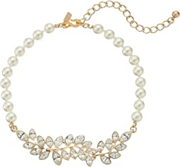 Pearl with Gold and Crystal Leaf Motif Choker Necklace
