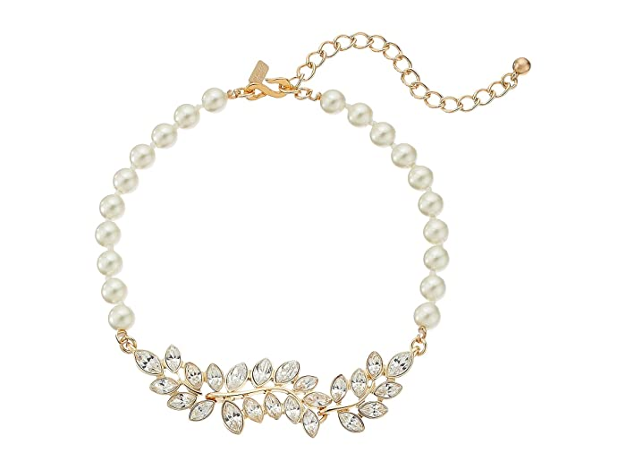 Kenneth Jay Lane Pearl With Gold And Crystal Leaf Motif Choker Necklace