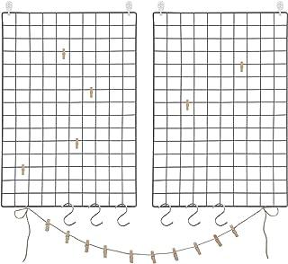 SONGMICS Juego de 2 Paneles de Malla, Pantalla para Foto, 65 x 45 cm, Decoración de Pared Metálica, Múltifuncional, Bricol...
