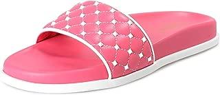 Valentino Women's Pink Leather Rockstud Flip Flops Sandals Shoes Sz US 11 IT 41