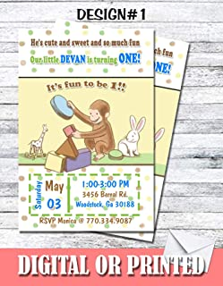 curious george digital invitations