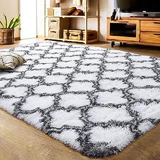 LOCHAS Luxury Velvet Shag Area Rug Mordern Indoor Plush Fluffy Rugs, Extra Soft and Comfy Carpet, Geometric Moroccan Rugs for Bedroom Living Room Girls Kids Nursery (5x8 Feet, Grey/White, HS5)