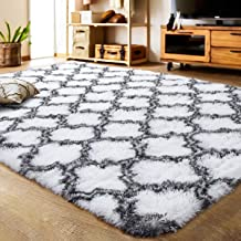 LOCHAS Luxury Velvet Shag Area Rug Mordern Indoor Plush Fluffy Rugs, Extra Soft and Comfy Carpet, Geometric Moroccan Rugs for Bedroom Living Room Girls Kids Nursery (5x8 Feet, Grey/White, HS5)