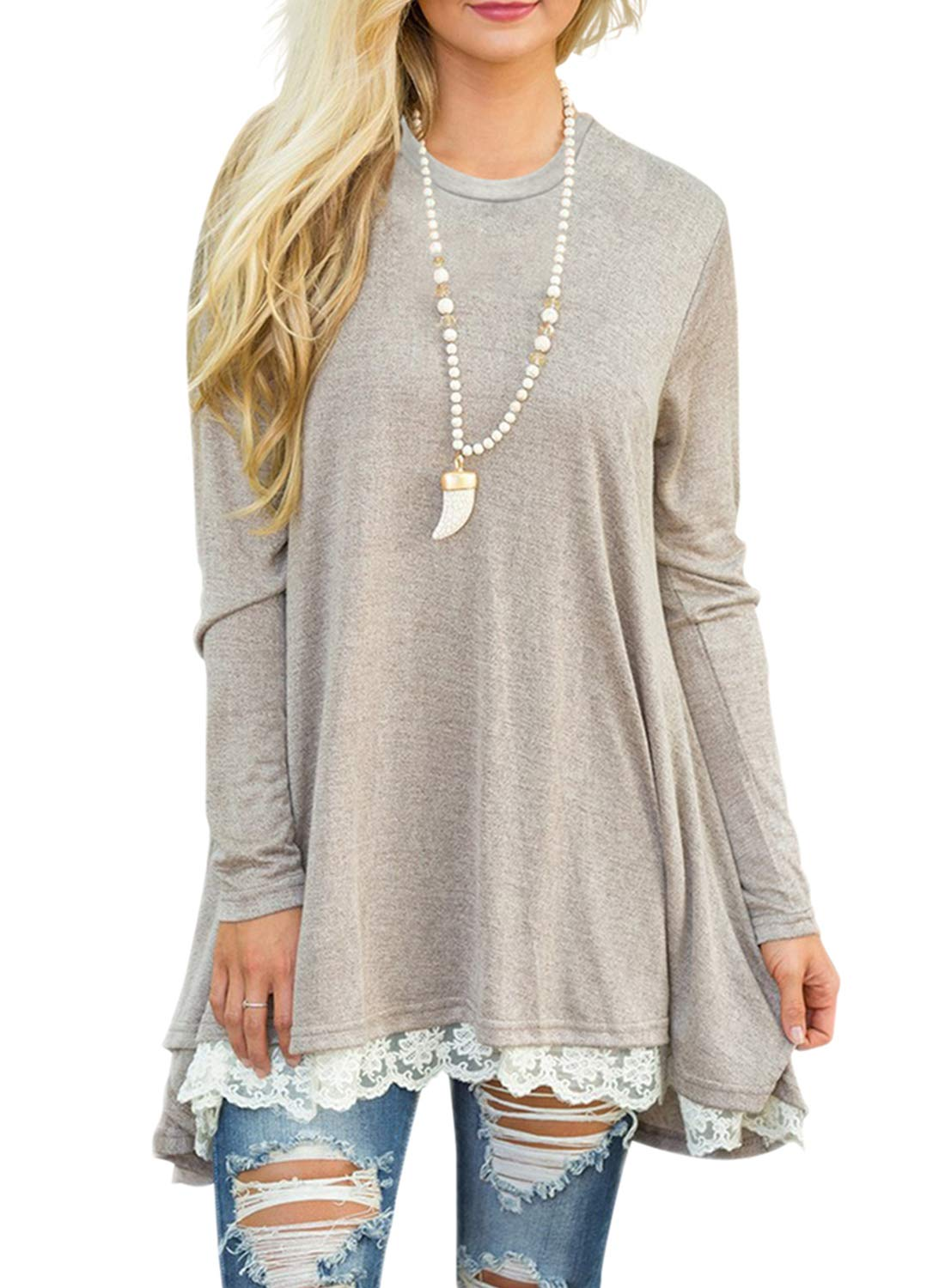 Plus Size Clothing - Women Lace Long Sleeve Tunic Top Blouse