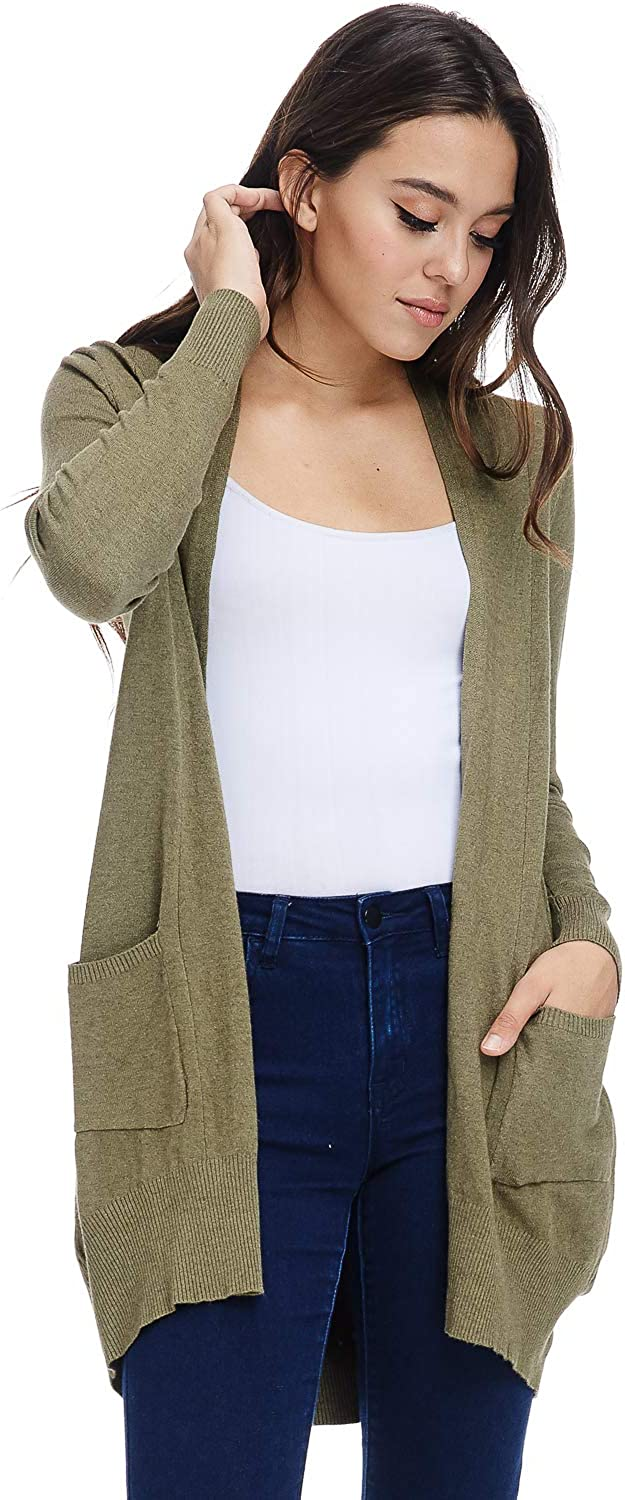 Alexander + David Women's Basic Open Front Long Sleeved Soft Knit Cardigan Sweater Lightweight with Pockets