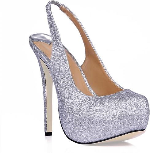 NVXUEZIX Femmes Sandale Stiletto Caoutchouc Semelle Bout Rond 10CM Haut Haut Haut Talon D'été Printemps Solide Couleur Bling Chaussures Slingback 80f