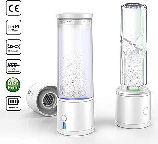 AlkaDrops Portable 5-mins SPE/PEM Membrane Hydrogen Water Bottle Rechargable Ionized Water Generator Hydrogenated Water Bottle Removal O3 CL2,300ml