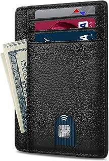 Minimalist RFID Blocking Front Pocket Slim Leather Wallets for Men Women