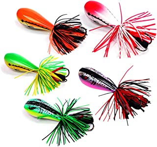 DOITPE Frog Lures Fishing Lures Floating Weedless Lure with Double Sharp Hooks Hard Baits Simulation Frog Snake Head Lures for Bass Pike Musky Snakehead Dogfish