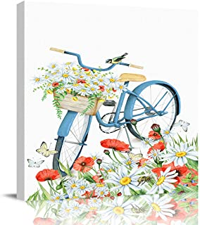 Canvas Wall Art Bike Flower Postcard Oil Painting,Framed Modern Giclee Wall Artwork Minimalist Wall Pictures for Bedroom Bathroom Living Room Modern Home Decorations Ready to Hang,8x8in