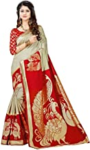 Pink Wish Women's Bhagalpuri Synthetic Saree With un-stitched Blouse (RF-NILKANTH RED_Red)