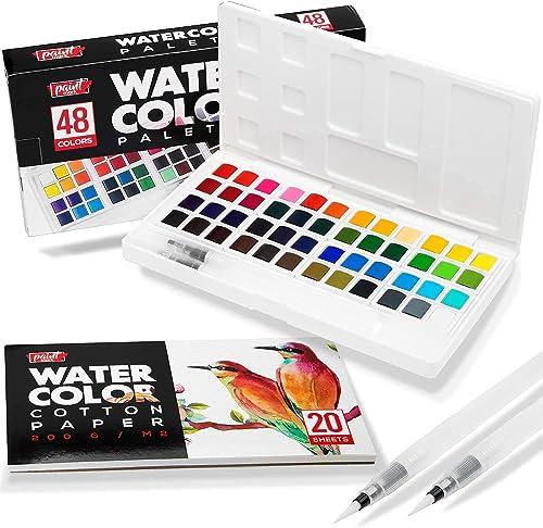 wholesale Paint outlet sale Mark 48 Watercolor Paint Set With 2 Blending Brush Pens, Watercolor Paint Palette Includes 20 Sheets Water Color Paper lowest & Storage Case. outlet sale
