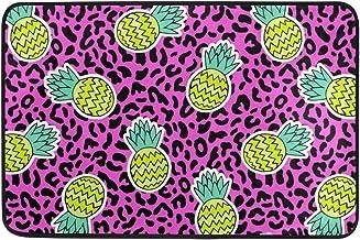 JSTEL Nonslip Door Mat Home Decor, Stylish Tropical Pineapple with Leopard Durable Indoor Outdoor Entrance Doormat 23.6 X ...