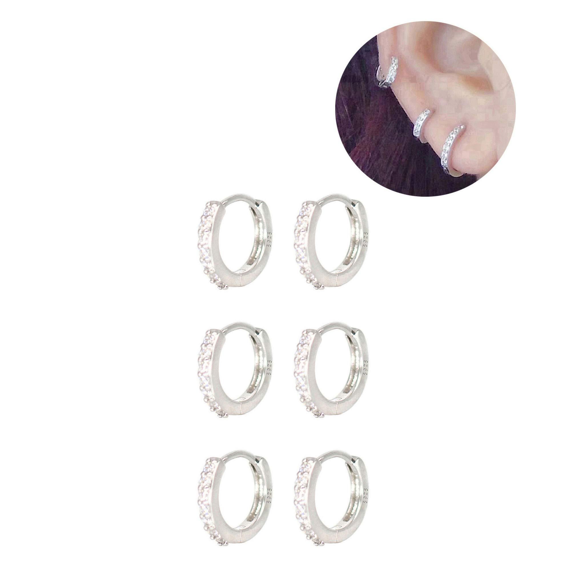 XLSFPY Sterling Earrings Cartilage Zirconia