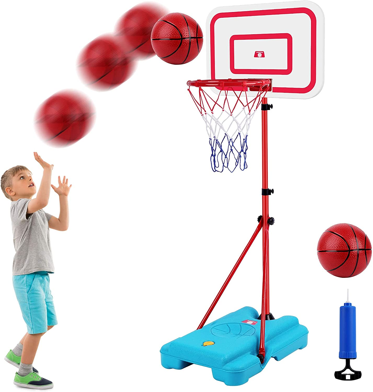 FiGoal Portable Basketball Hoop for Kids, Adjustable Height Up t