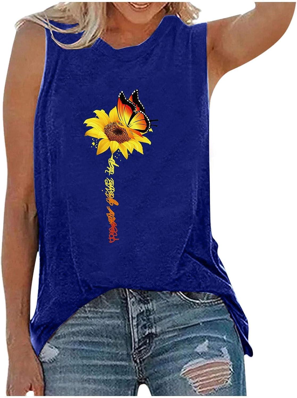 FABIURT Tank Tops for Women,Womens Cute Graphic Sleeveless Tank Tops Tee Crewneck Casual Tunic T-Shirt Loose Soft Blouse