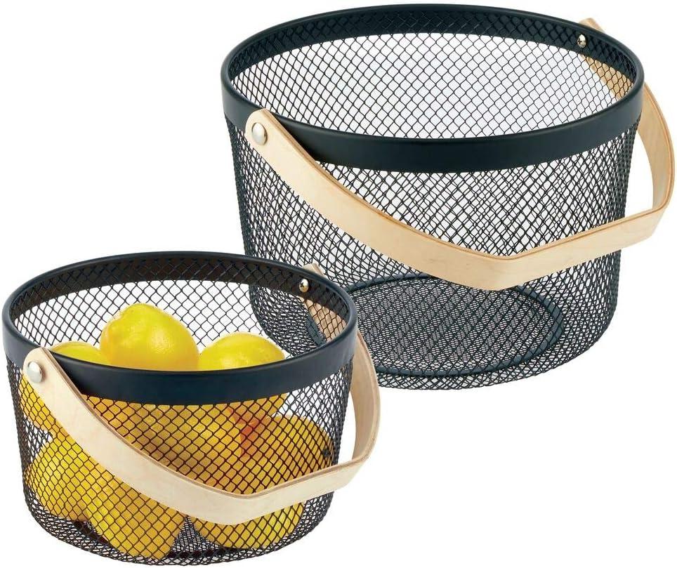 mDesign Over item handling Farmhouse Metal Tucson Mall Storage Organizer Bin Wood H with Basket
