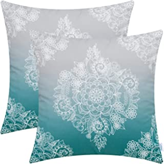 CaliTime Pack of 2 Cozy Throw Pillow Cases Covers for Couch Bed Sofa Manual Hand Painted Print Vintage Mandala Floral 18 X 18 Inches Gradient Medium Grey to Teal