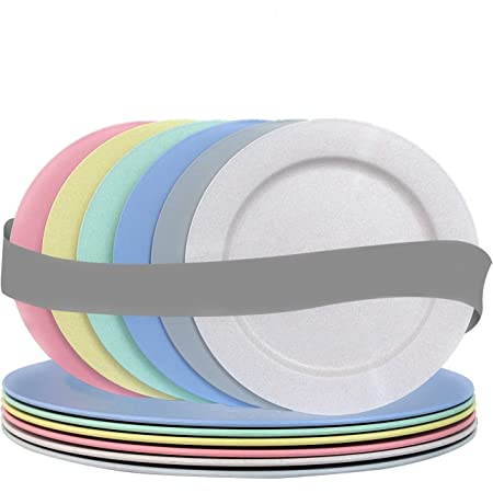 10 Inch Wheat Straw Flat Plastic Plates Set (6 Dinner Plates) - Dishwasher & Microwave Safe - Unbreakable Reusable Lightweight Eco Friendly & BPA Free Dinnerware - Dishes for Kids Toddlers & Adults