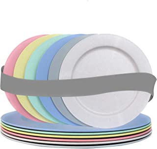 10 Inch Wheat Straw Flat Plastic Plates (Set of 6 Dinner Plates) - Dishwasher & Microwave Safe - Unbreakable, Reusable, Li...