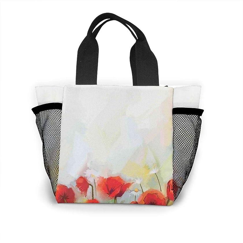 オアシス緊張にんじん水彩の赤い花ランチバッグ ミニバッグ トートバッグ 弁当袋 繰り返し使用 ショッピングバッグ 折りたたみ 買い物 ハンドバッグ 保温 保冷