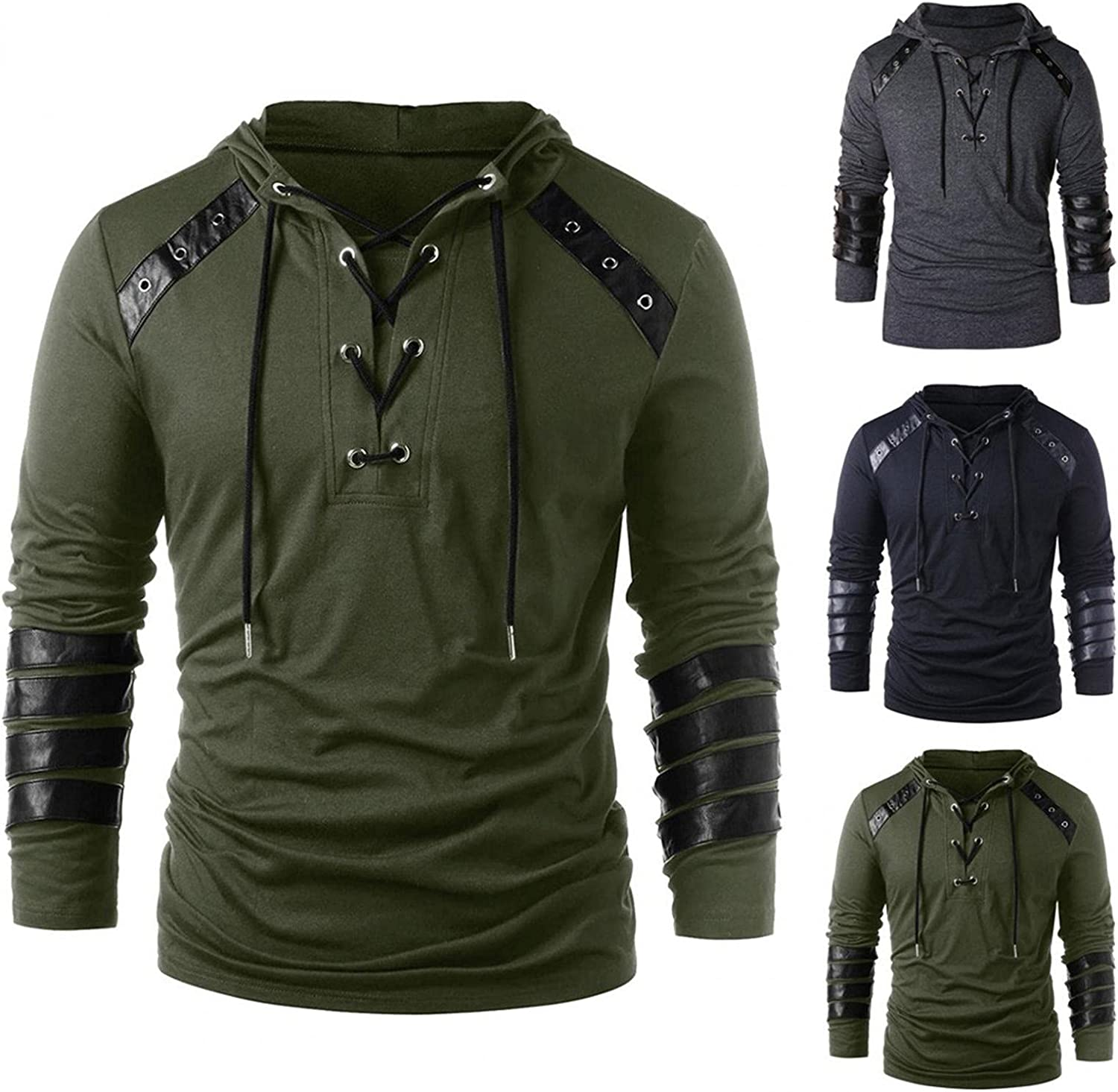 Mens Gothic Shirt, Men's Gothic Steampunk Shirts Sweatshirt Lace Up Long Sleeve Pullover Hooded Medieval Tees Costume Tops