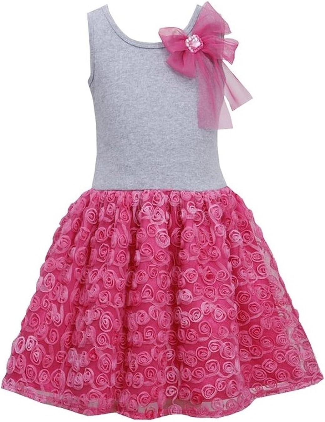 Little Girls Bow Shoulder Knit to Bonaz Rosette Mesh size 4
