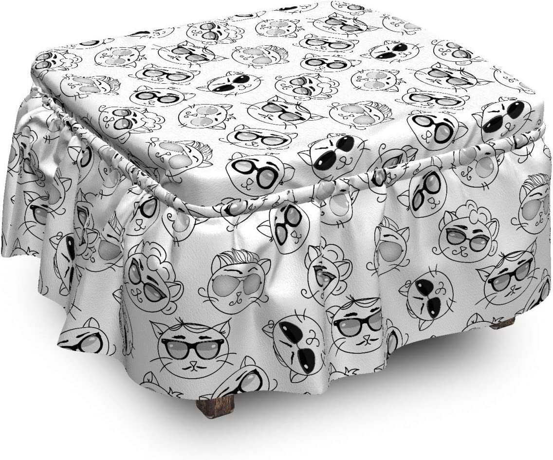 Ambesonne Cat Ottoman Cover Cartoon Max 77% OFF Glasses Kittens with Super sale period limited 2 Pie