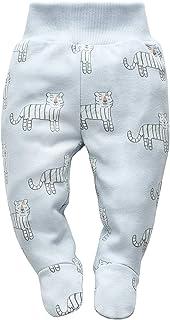 Sparkbyxor med fötter i bomull med djurmotiv för bebisar.