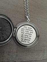 I'll Love You Forever Necklace, Mommy Locket, Gift For Mom, Mothers Day, Classic Silver Locket
