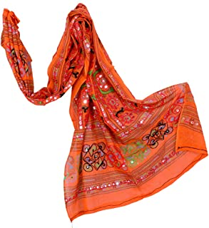 Traditional Cotton Long Women's Kutch Work Cotton Dupatta Embroidery Floral Stole Veil Stole Hijab Sarong