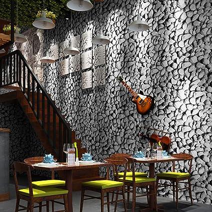 Fine Decor 3d Papier Peint Simulation Cailloux Salle De Sejour Bureau Mur Restaurant Magasin De Vetements Cafe Pvc Sans Colle 053 M 10 M Gris Amazon Fr Bricolage