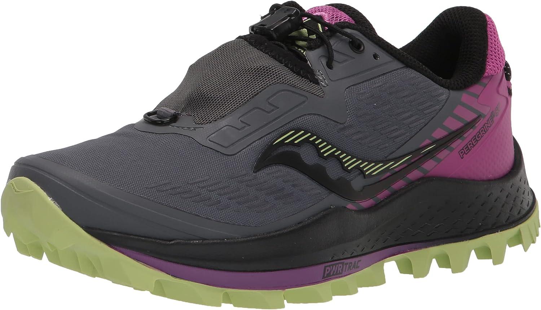Saucony Women's Peregrine 11 ST Trail Running Shoe, Shadow/RAZ/Lime, 5.5