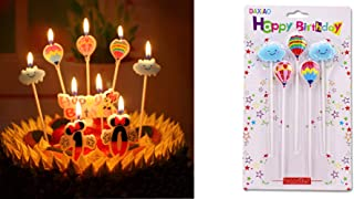 T-shin Cake Candles,Cute Hot-air Balloon Cloud Cartoon Cake Toppers,Creative Candles,Happy Birthday Set,Party Supplies,Cake Decoration,5 Pack Candles