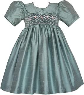 Special Occasion Hand Smocked Girls Hazel Blue Silk Dress