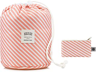BeeChamp Large Round Travel Toiletry Bag Soft Waterproof Drawstring Bucket Pouch for Bottles Makeups Pink Stripe