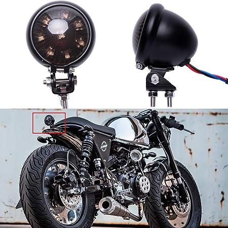 Goofit Chrom Motorrad Doppelte Birne Hinten Bremslicht Indikator Rücklicht Mit Integrierter Blinker Rot Grau Backup Lampe Für Scooter Pocketbike Atv Auto