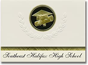 Signature Announcements Southeast Halifax High School (Halifax, NC) Graduation Announcements, Presidential style, Elite package of 25 Cap & Diploma Seal Black & Gold