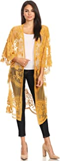 Womens Long Embroidered Lace Kimono Cardigan with Half Sleeves